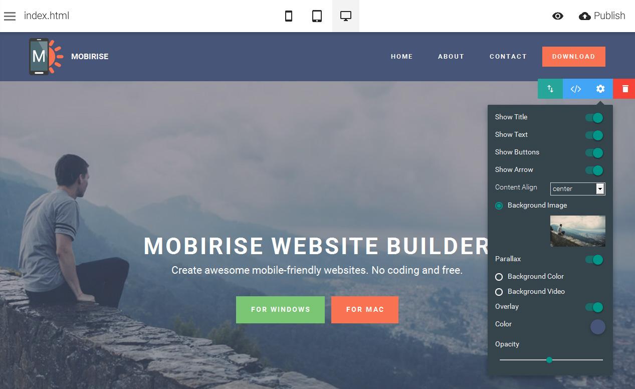 Mobirise indir – Mobil Uyumlu Tasarım Programı